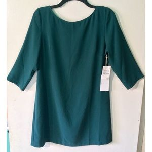 Leith Keyhole-Back 3/4 Sleeve Green Mini Dress
